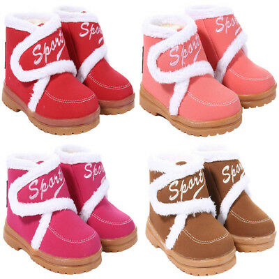 Kids Boots Fur Lined Moccasin Boot Winter Warm Slipper Toddler Baby Shoes UK