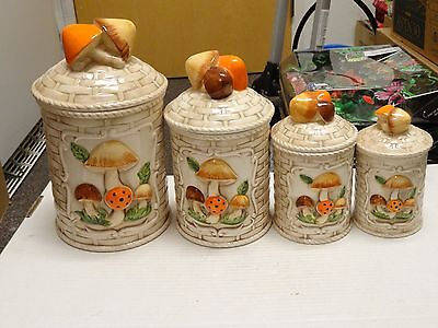 AWESOME Vintage Himark 4 CANISTER  RARE Mushroom Set PAPER BOTTOM LABELS