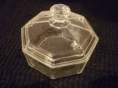 Rare Clear Glass Octime CANDY DISH WITH LID