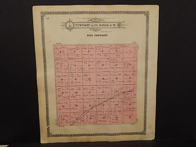 Minnesota Roseau County Map Ross or Stokes Township 1913 Dbl Side  J13#57