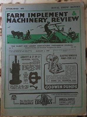 Vintage 'Farm Implement & Machinery Review' Journal Royal Show Report Aug 1 1947