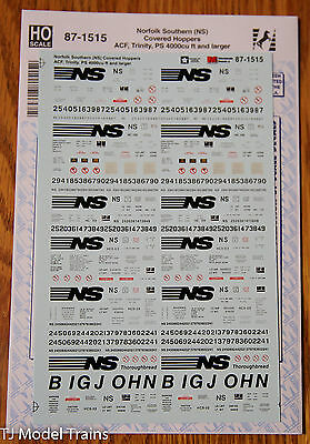 Microscale Decal HO #87-1515 Norfolk Southern (NS) Cov'd Hoppers ACF, Trinity,PS