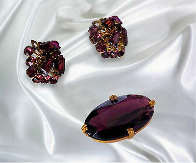 Antique Art Deco Amethyst Purple Czech Glass Earrings & Brooch