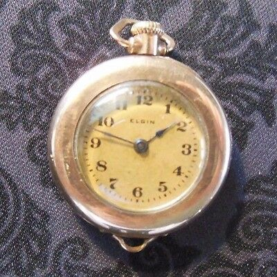 "1918 Elgin Ladies Pendant Watch Gold Filled Open Face Good Condition 1"" Width"