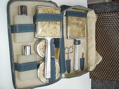 Vintage 1950's  Dressing Table Petit Point travel set