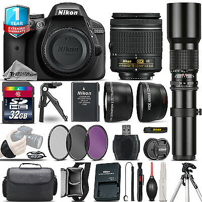 Nikon D3300 DSLR Camera + 18-55mm VR + 500mm Lens + Filter Kit + 1yr Warranty