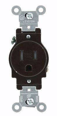 *NEW* Leviton 5015 Narrow Body Single Receptacle, Straight Blade,15A,125V, Brown