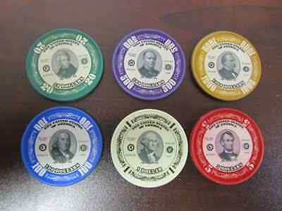 US Presidents Poker Chip Collector Set of 6 Washington Lincoln Cleveland Casino