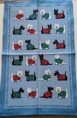 Samuel Lamont UK Scottie & Westie Tea Towel NWT Scottish Terrier Dog Highland
