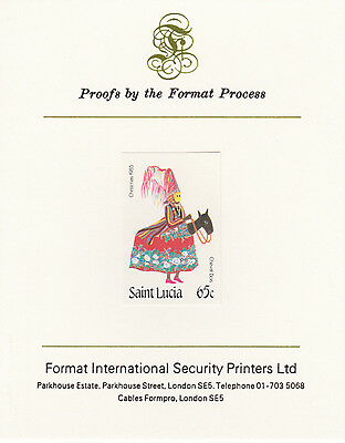 St Lucia 4252 - 1985 CHRISTMAS 65c imperf on Format International PROOF  CARD