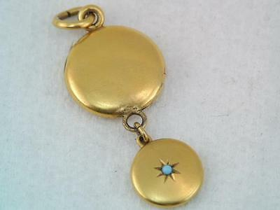 Antique Victorian Solid 14K & 18K Gold Locket Charm Turquoise Pendant