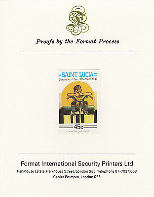 St Lucia 4258 - 1985 YOUTH YEAR 45c imperf on Format International PROOF  CARD