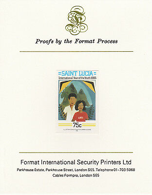 St Lucia 4259 - 1985 YOUTH YEAR 75c imperf on Format International PROOF  CARD
