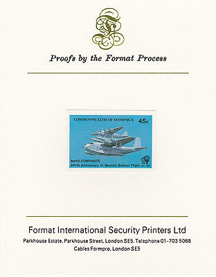 Dominica 4267 - 1983 AVIATION 45c imperf on Format International PROOF  CARD