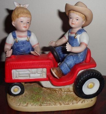 Homco Ceramic Figurine Denim Days Children Red Tractor Collectible Farm Figure