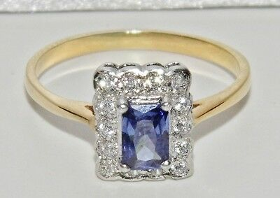"""9ct Yellow Gold on Silver Tanzanite """"Edwardian Style"""" Cluster Ring size N"""