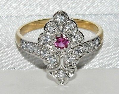 Art Deco 9ct Yellow Gold on Silver Ruby & White Zircon Cluster Ring - size P