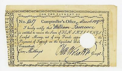 1789 CONNECTICUT Interest Payment Certificate Signed by Oliver Wolcott Jr.