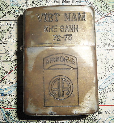 Zippo Lighter - Us Special Forces - Khe Sanh 1972 - 73 - Vietnam War Tour - 8905