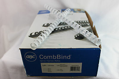 """Box of GBC 5/8"""" (16mm) CombBind WHITE Binding Combs #4000086G 125 Sheets NEW!"""