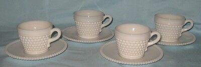 Westmoreland 4 Milk Glass American Hobnail Cups with 4 Beaded Edge Saucers