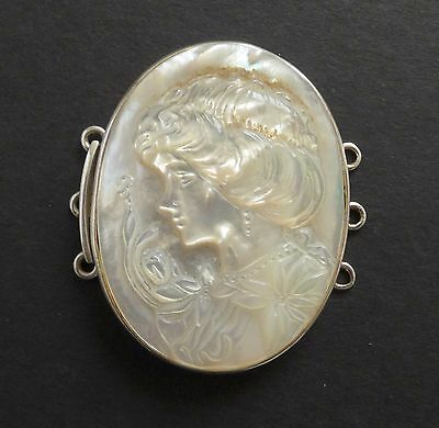Antique Mother of Pearl MOP Cameo Choker Necklace 3 Strand Clasp 925 Sterling