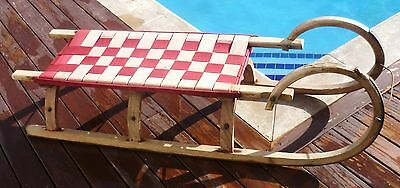 Vintage Turned Timber Snow Sled Sleigh Toboggan Switzerland Woven Seat 1.2 meter
