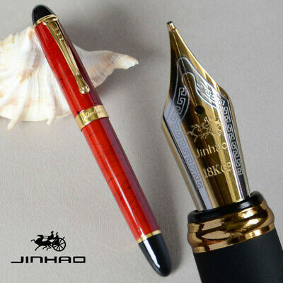 JINHAO X450 CORAL RED WITH WHITE BLACK STRIPES 0.7mm BROAD NIB FOUNTAIN PEN GIFT
