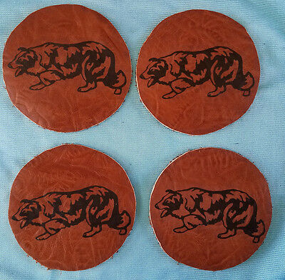 """NWOT - 4 Border Collie Leather Coasters Brown @ 4"""""""