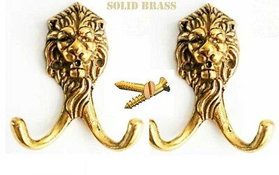 LOT of 2 Brass Lion Head Keys Coat Hook Rack Victorian Hat Hanger Kitchen 6707