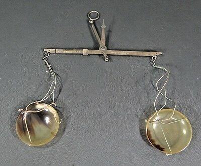 Antique Apothecary Pharmacy Hand Held Brass Horn Travel Balance Scales Hanging