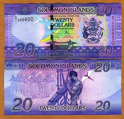 Solomon Islands, $20, ND (2017), P-New, A/1, UNC > Low S/Ns 0008XX