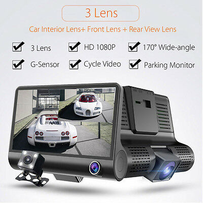 4'' HD 1080P 3 Lens Car DVR Dash Cam G-sensor Video Recorder + Rearview Camera
