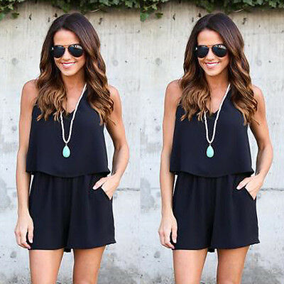 Women's Summer Clubwear Shorts Playsuit Bodycon Party Chiffon Jumpsuit Romper .