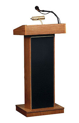 Oklahoma Sound Wooden Presentation The Orator Fixed Height Stand up Lectern  ...