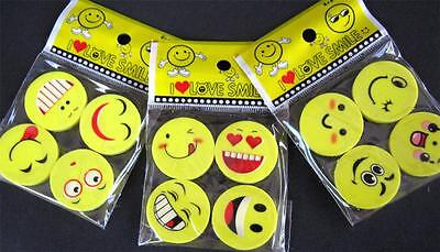 Bulk Lot x 12 Mixed Emoji Face Rubber Erasers Novelty Stationery Party Favors