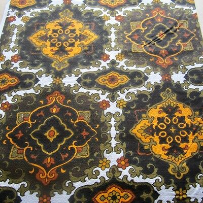 50 x 62 VINTAGE CURTAIN FABRIC 1960s COTTON BARKCLOTH GREEN BROWN MOROCCAN TILE
