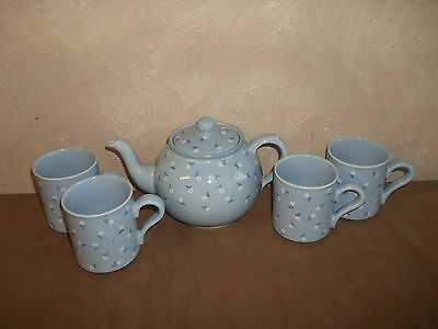 Arthur Wood Large Blue Floral Teapot + 4 Matching Mugs