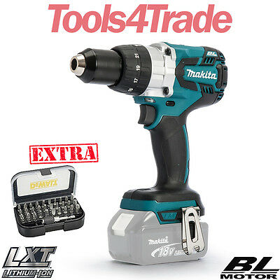 Makita DHP481Z 18v LXT Brushless Combi Drill Body With 31pcs Screwdriver Bit Set