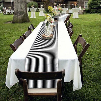 """Black and White Striped Table Runner 14"""" X 72"""" Cotton Linen Wedding Party Decor"""