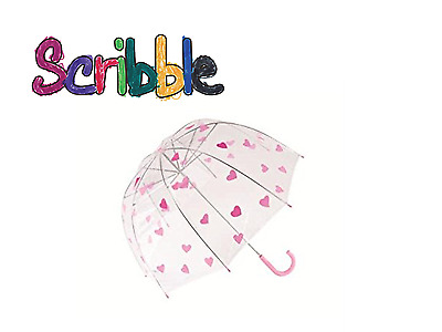 Scribble Kids 18inch Dome Umbrella Hearts Girl Children Transparent Clear Brolly