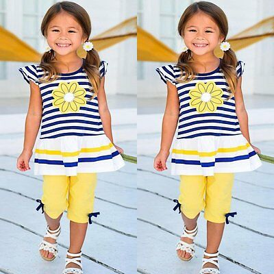 Baby Kids Girls Summer Outfits Vest Top Shirt Pants Shorts Clothes Outfits Set