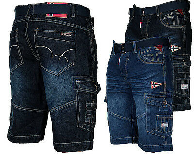 Geographical Norway Herren Jeans Cargo Shorts Short Bermuda Sommer Short Denim