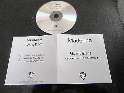 "Madonna ""give It 2 Me"" Fedde Le Grand Remixes Promo Cd"