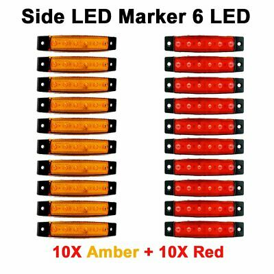 10X Red +10X Amber 12V 6 SMD Side LED Marker Rear Light for Truck Trailer Boat