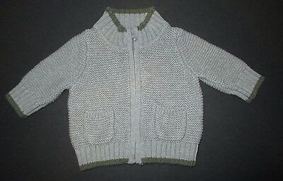 Infant Boys Baby Gap Gray Squiggle Knit Pocket Zipper Cardigan Sweater Size 0-3M