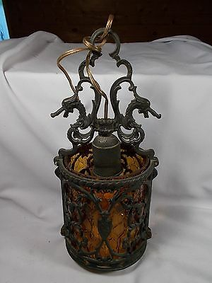 Antique Gothic Dragon Hanging Electric Hall Lamp with Amber Crackle Glass Shade