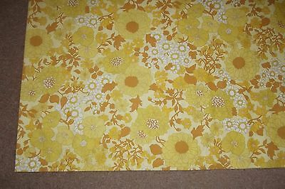 Vintage Yellow Floral Flat Sheet / Single Size / Or For Material