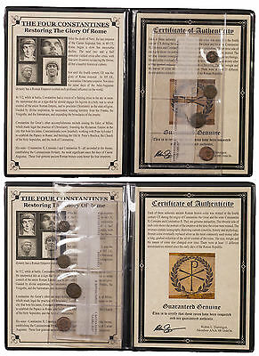 4 Coin Set Roman Bronzes of the Four Constantines In Album with COA SKU47195