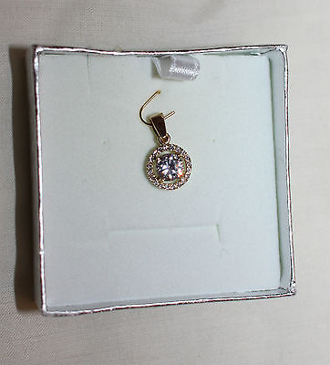 Beautiful sparkly 14ct Solid Yellow Gold Pendant with real small diamonds 16mm